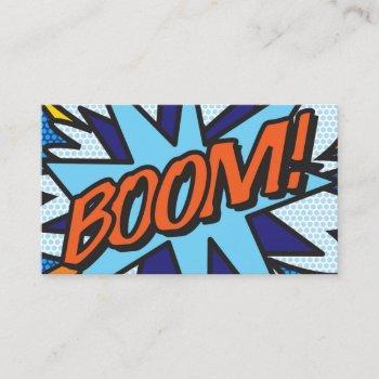 boom fun retro comic book business card