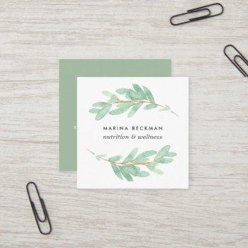 botanical branch square business card