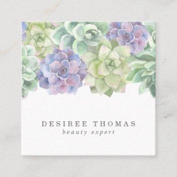 botanical green and purple watercolor succulents square business card