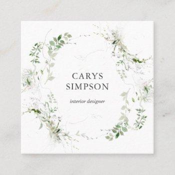 botanical greenery and sketch modern square business card