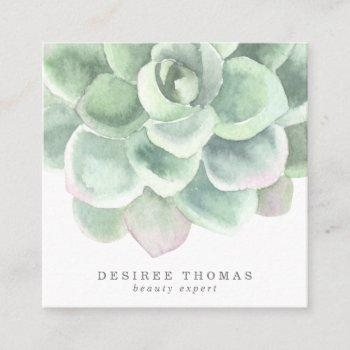 botanical sage green watercolor succulent beauty square business card