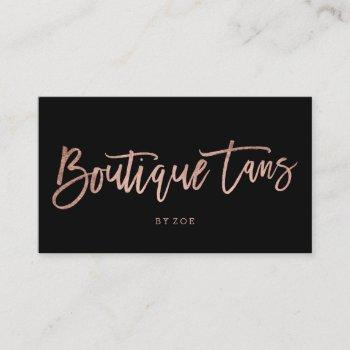 boutique tans logo rose gold typography black business card