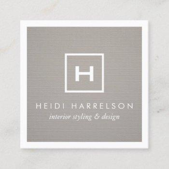 box logo monogram on gray linen/white border square business card