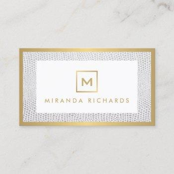 box logo monogram with elegant snakeskin print business card