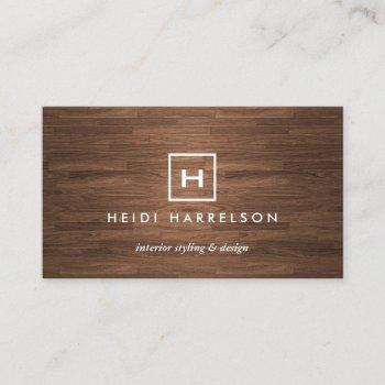 box logo with your initial/monogram on brown wood business card