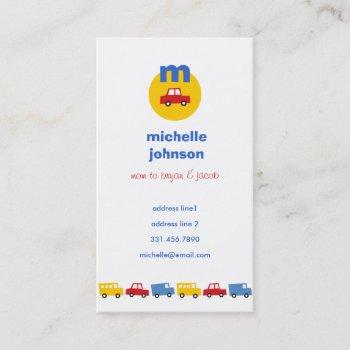 boys' toys car fun cute mom dad calling card