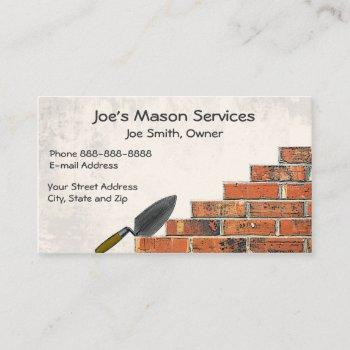 brick mason masonry business card