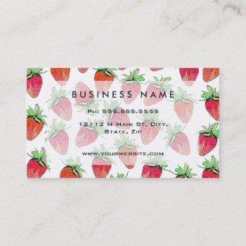 bright colorful watercolor fruity strawberries business card