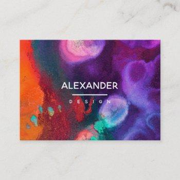 bright orange purple abstract watercolor business card