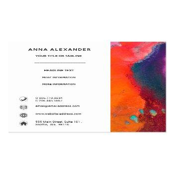 Small Bright Orange Purple Abstract Watercolor Square Business Card Back View