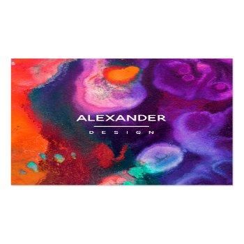 Small Bright Orange Purple Abstract Watercolor Square Business Card Front View