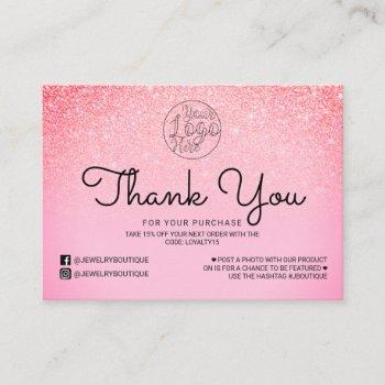 bright pink glitter ombre customer thank you business card