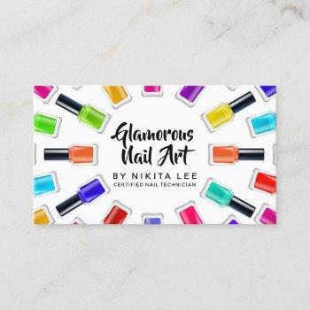 bright rainbow nail art tech salon social media business card