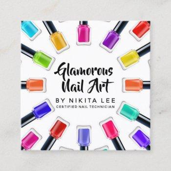 bright rainbow nail art tech salon social media square business card