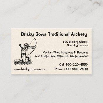 brisky bows archery business card