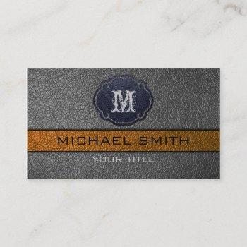 brown and black leather business card