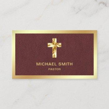 brown leather gold foil jesus christ cross pastor business card