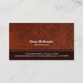 brown leather look interior design business card