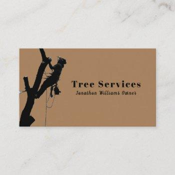 brown professional tree trimming service business card