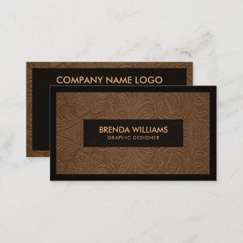 brown suede leather floral pattern business card