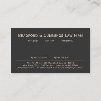 brown vintage professional attorney law firm business card