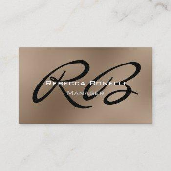 browny black white monogram manager business card