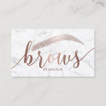 brows typography eyebrow salon microblading marble business card