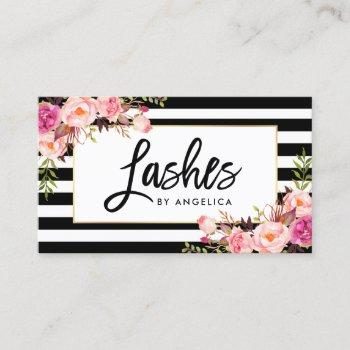 brush script pink floral lashes striped business card