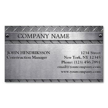 brushed metal diamond plate business card template