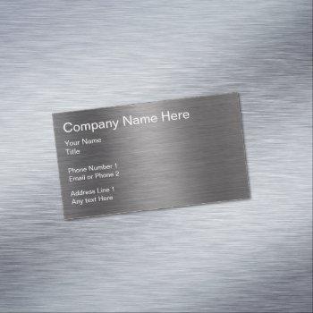 brushed metal look automotive business card magnet