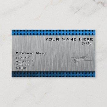 brushed metal-look plane business card