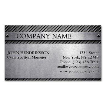brushed metal stainless steel construction business card magnet