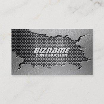 brushed metal with mesh grill business card