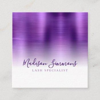 brushed metallic purple monogram elegant script square business card