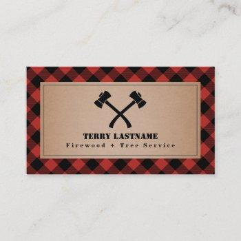 buffalo plaid axe tree service firewood business card