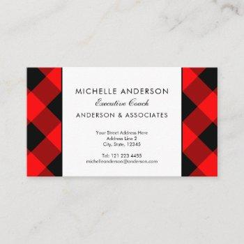 buffalo plaid check executive coach custom color business card