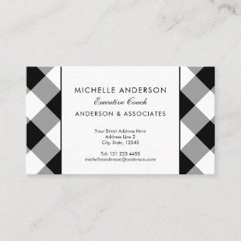 buffalo plaid modern corporate black and white business card