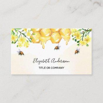 bumble bees honey yellow florals  business card