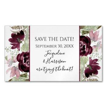 burgundy blush floral leaves elegant save the date business card magnet