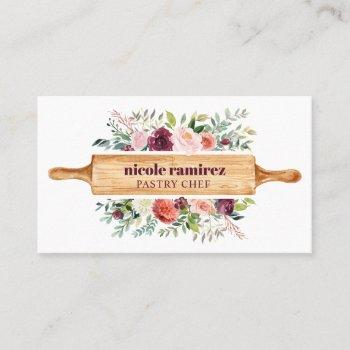 burgundy  floral bakery rolling pin patisserie business card