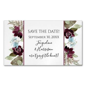 burgundy floral elegant dusty blue save the date business card magnet