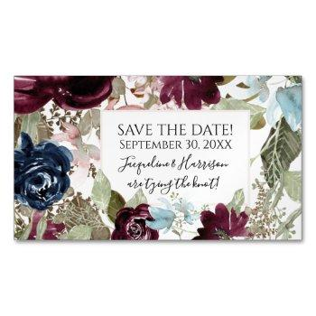 burgundy floral elegant navy blush save the date business card magnet