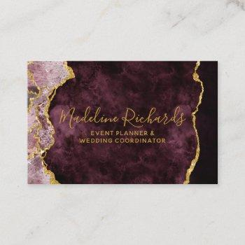 burgundy & gold watercolor marble agate gilded business card