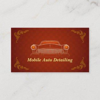 burgundy red retro auto detailing business card