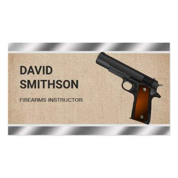 Small Burlap Steel Pistol Gun Shop Gunsmith Firearms Business Card Front View