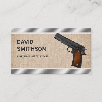 burlap steel pistol gun shop gunsmith firearms business card