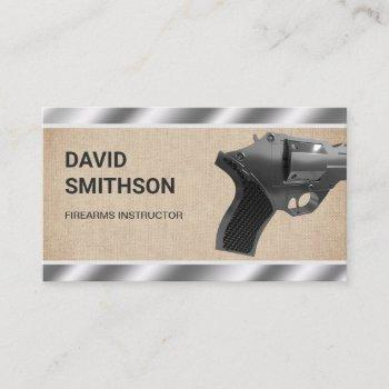 burlap steel revolver gun shop gunsmith firearms business card