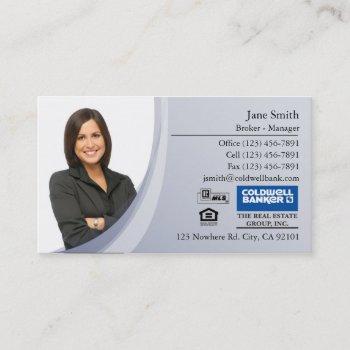 business card: blue photo business card