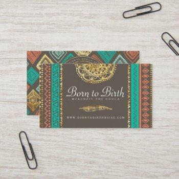 business card | boho gold feather tribal doula