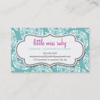 business card floral silhouette pattern turquoise